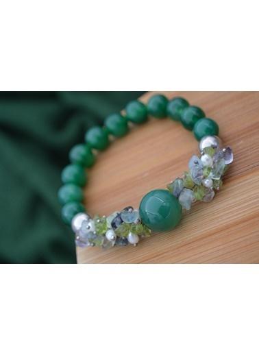 Stoneage Bayan Taş Bileklik Ceyt Florit İnci Yeşil